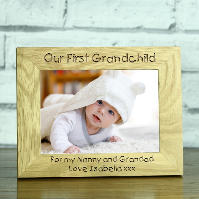 Our First Grandchild\' Personalised Solid Oak Photo Frame - Engrave a ...