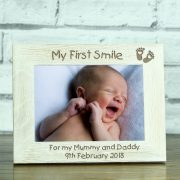 OAKWW57149L-laser-engraved-my-first-smile-personalised-solid-oak-new-born-baby-5-x-7-wooden-photo-frame