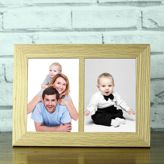 Solid Oak Double Portrait 5 X 7 Photo Frame Engrave A Gift