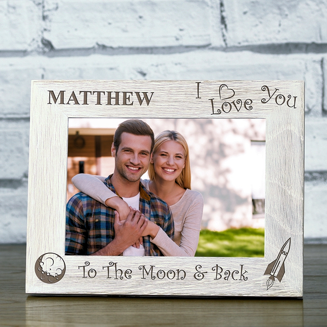Personalised I Love You To The Moon And Back Solid Oak Whitewash