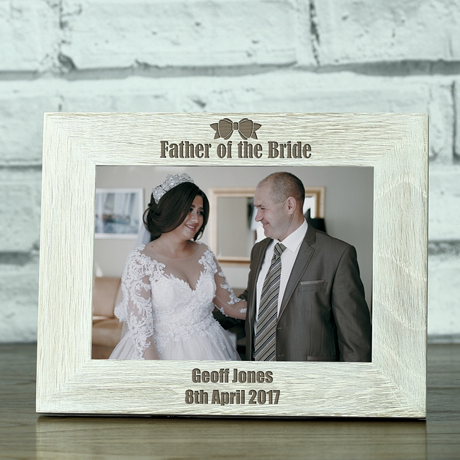 Father Of The Bride Personalised Solid Oak Whitewash Photo Frame