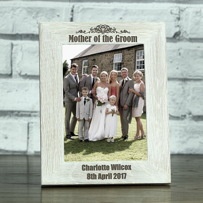 Mother Of The Groom Personalised Solid Oak Whitewash Photo Frame