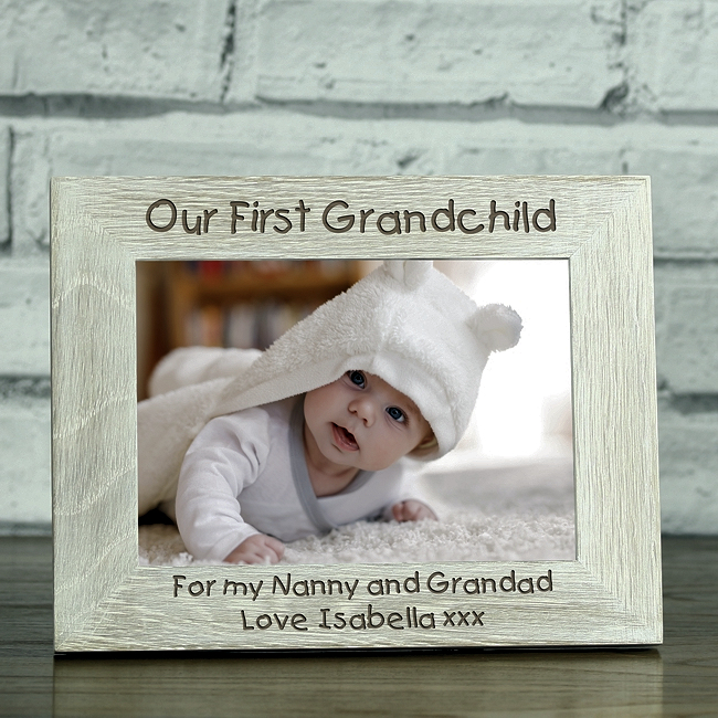 Our First Grandchild\' Personalised Solid Oak Whitewash Photo Frame ...