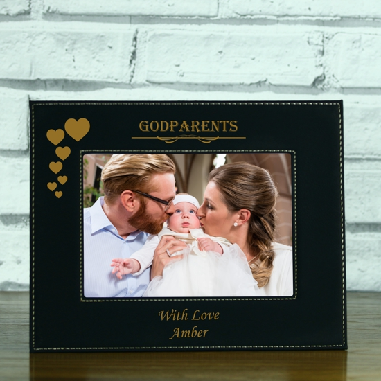 Godparents\' Personalised Black Leatherette Photo Frame - Engrave a gift