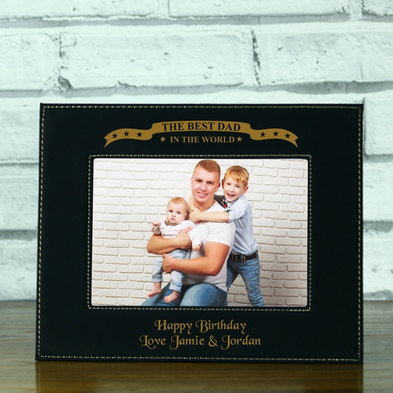best dad in the world personalised black leatherette photo frame
