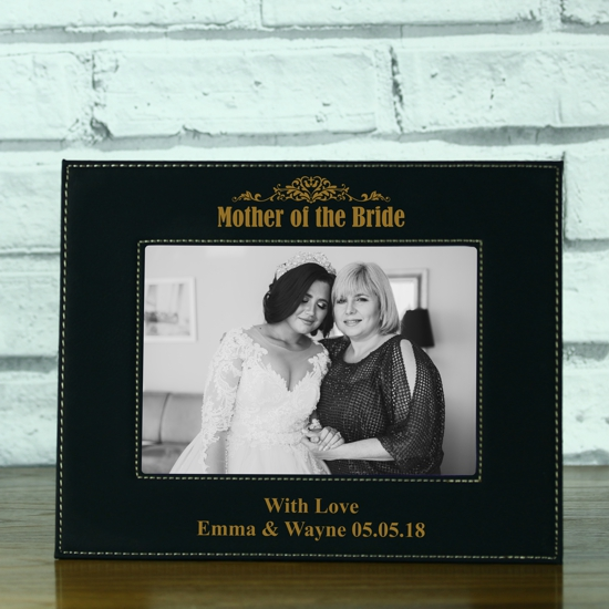 Mother Of The Bride Personalised Black Leatherette Photo Frame