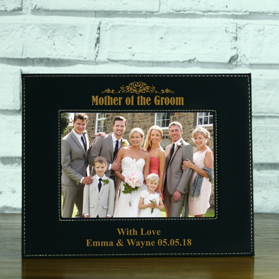 Mother Of The Groom Personalised Black Leatherette Photo Frame