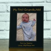 LEABLFR150P-laser-engraved-my-first-grandchild-black-leatherette-personalised-5-x-7-baby-photo-frame