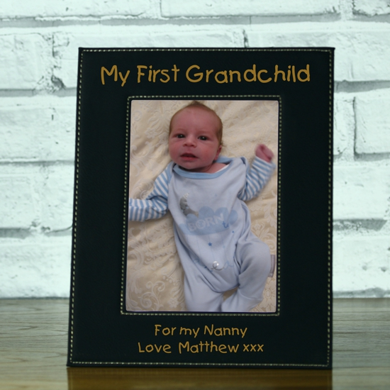 My First Grandchild Personalised Black Leatherette Photo
