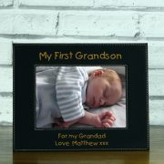 LEABLFR151L-laser-engraved-my-first-grandson-black-leatherette-personalised-5-x-7-baby-photo-frame