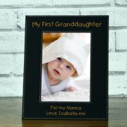 LEABLFR152P-laser-engraved-my-first-granddaughter-black-leatherette-personalised-5-x-7-baby-photo-frame