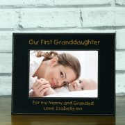 LEABLFR153L-laser-engraved-our-first-granddaughter-black-leatherette-personalised-5-x-7-baby-photo-frame