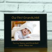 LEABLFR155L-laser-engraved-our-first-grandchild-black-leatherette-personalised-5-x-7-baby-photo-frame
