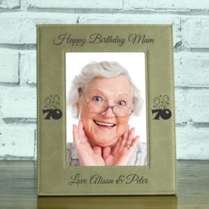 Laser engraved leatherette photo frame personalised with birthday age and balloons