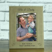 LEABRFR111P-laser-engraved-brown-leatherette-personalised-me-and-daddy-5-x-7-photo-frame