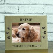 LEABRFR114L-laser-engraved-doggy-memorial-brown-leatherette-personalised-5-x-7-photo-frame