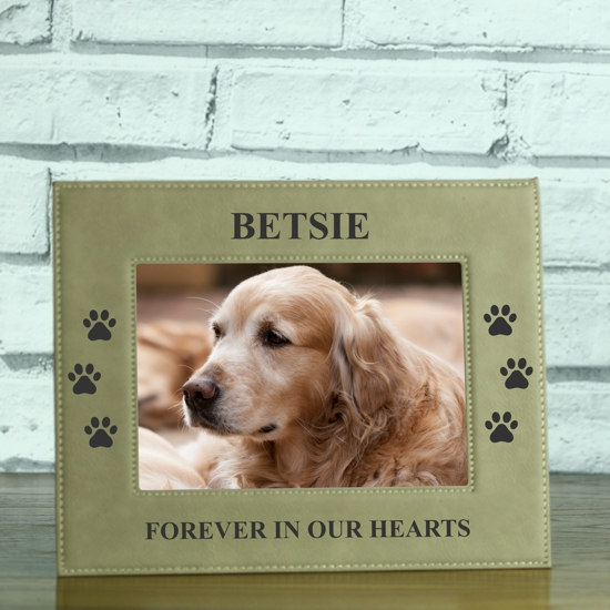 Forever In Our Hearts Doggy Footprints Brown Leatherette Photo