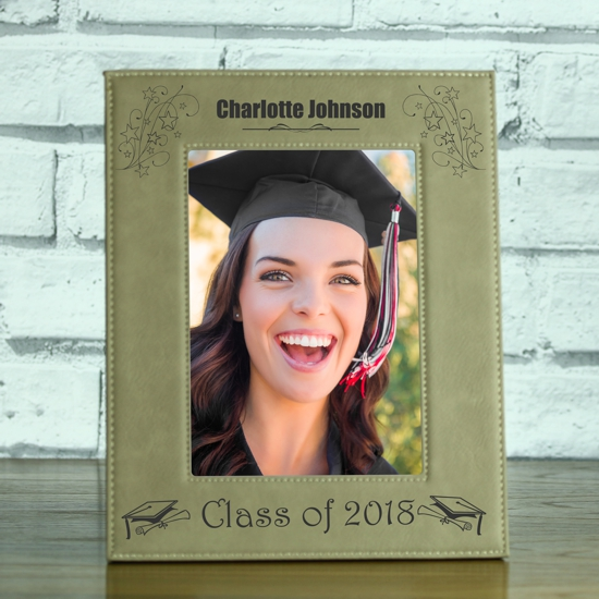 Class Of Personalised Brown Leatherette Photo Frame Engrave A Gift