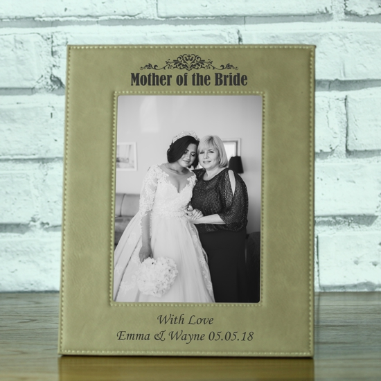 Mother Of The Bride Personalised Brown Leatherette Photo Frame