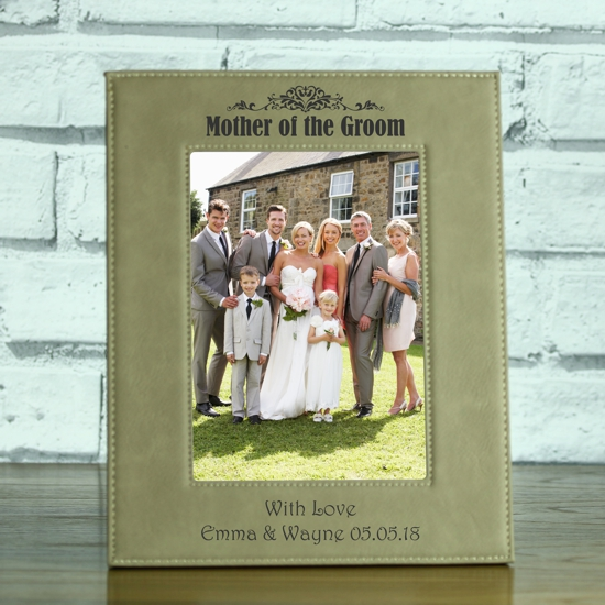 Mother Of The Groom Personalised Brown Leatherette Photo Frame