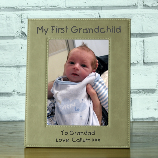 My First Grandchild\' Personalised Brown Leatherette Photo Frame ...