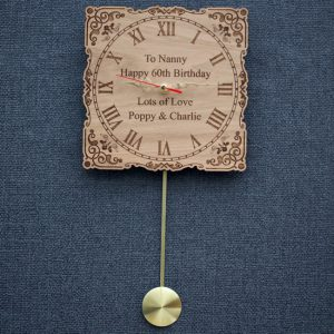 Personalised ornate design pendulum wood wall clock