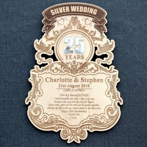Laser engraved 25th Silver Wedding Anniversary personalised wood wall plaque.