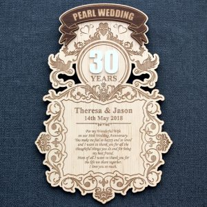 Laser engraved 30th Pearl Wedding Anniversary wood wall plaque