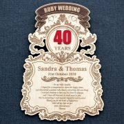 Laser engraved Ruby Wedding Anniversary Wood wall plaque