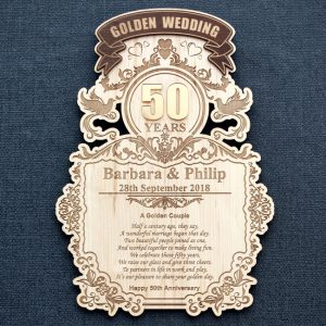 Laser engraved 50th Golden Wedding Anniversary laser engraved wood wall plaque