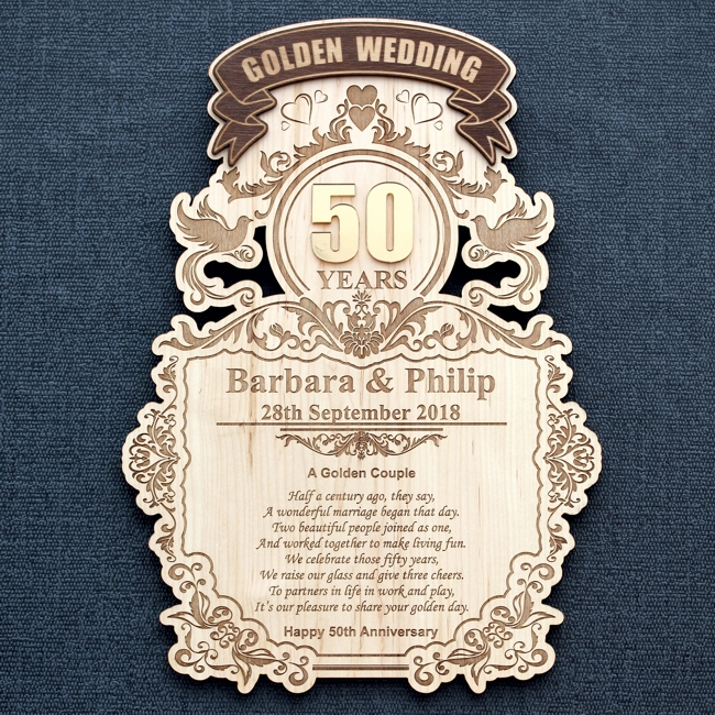 50 Years Golden Wedding Celebration Wood Wall Plaque Engrave A Gift
