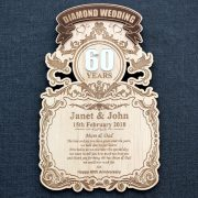 Diamond Wedding Anniversary laser engraved personalised wood wall plaque