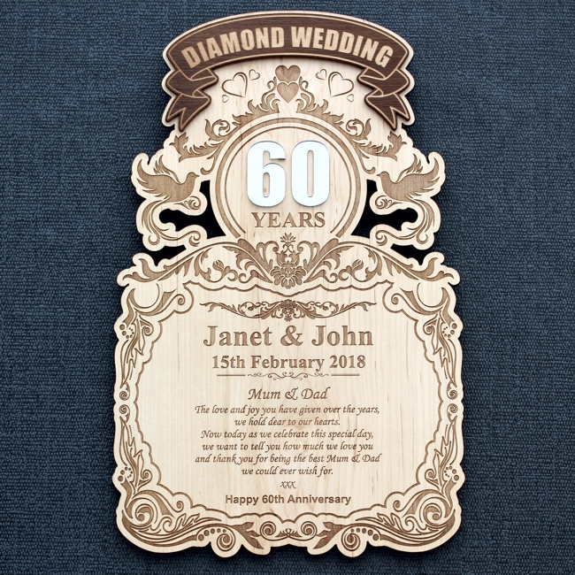 60 Years Diamond Wedding Celebration Wood Wall Plaque Engrave A Gift