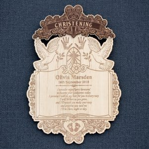 Laser engraved Christening celebration wooden wall plaque