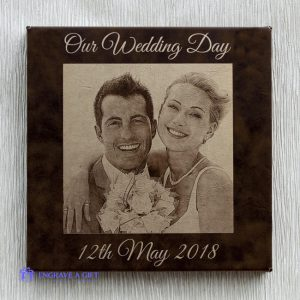 Photo engraved brown leatherette wall panel