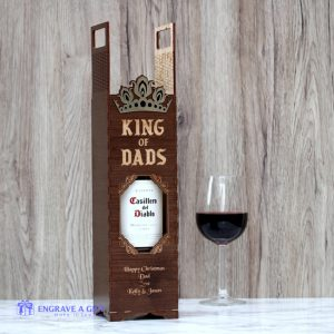 King of Dads personalised handmade wine box with gold crown embellishment.