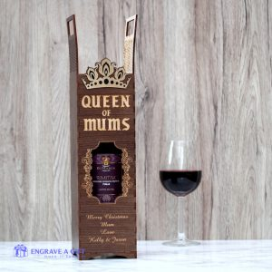 personalised handmade wine bottle box laser engraved with Queen of Mums and a gold crown embellishment attached.