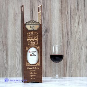 Personalised handmade dark stained wood wine bottle birthday box.