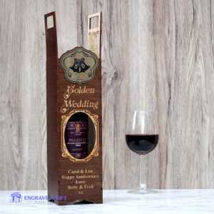 Personalised handmade 50th anniversary golden wedding wine bottle gift box