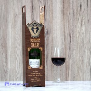 personalised best man handmade wood wine gift box