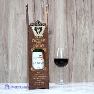 handmade dark stained vintage style wooden wine box personalised for father of the bride with gold embellishment attached engraved with tuxedo and bow tie
