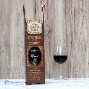 personalised dark wood vintage style mother of the groom personalised wine gift box with a stunning gold floral embellishment.