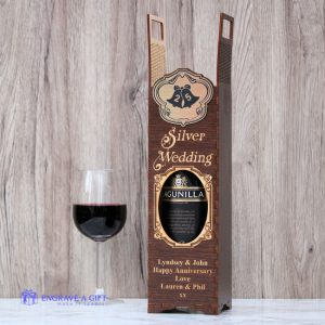 25th anniversary silver wedding handmade dark stained wine bottle gift box with embellishment
