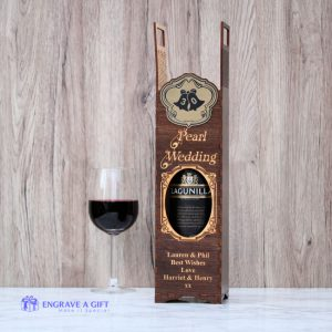 personalised 30th anniversary pearl wedding wine bottle gift box handmade with laser engraved gold embellishment