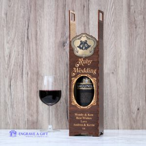 40th Anniversary personalised handmade wooden wine bottle gift box laser engraved with gold embellishment