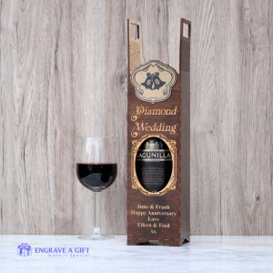 handmade dark stained wooden 60th Anniversary wine bottle gift box with laser engraved embellishment