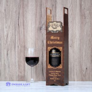 personalised handmade wine bottle wooden gift box laser engraved with christmas bells and holly embellishment