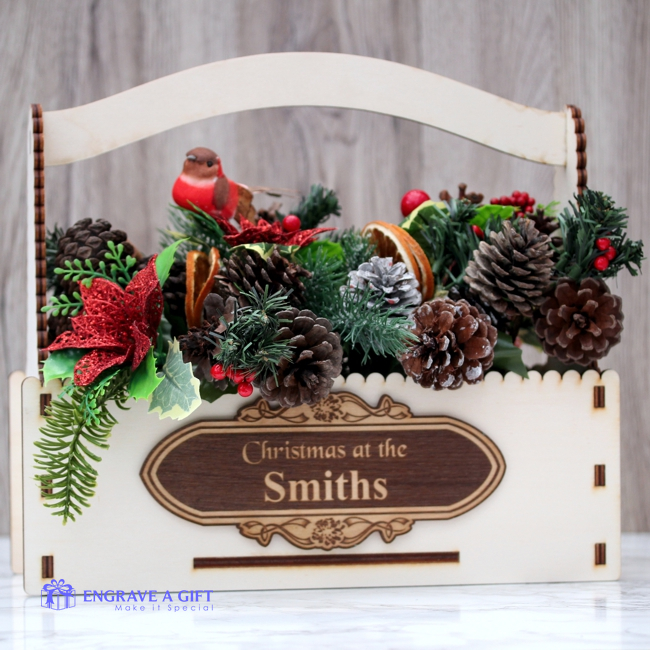 Christmas Flower Decorations.Large Handmade Christmas Flower Box Engrave A Gift