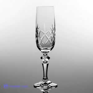 single lead crystal champagne flute with traditional cross cut pattern and a panel for engraving