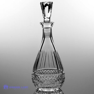 24% lead crystal oval wine decanter, hand blown and hand cut leaving a panel for engraving.